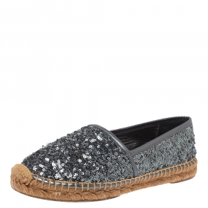 Dolce & Gabbana Metallic Grey Sequin Espadrille Flats Size 36 - used