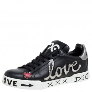 Dolce & Gabbana Black Leather Portofino Love Patch Low Top Sneakers Size 38