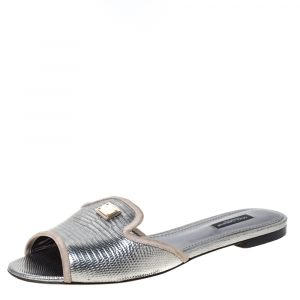 Dolce & Gabbana Sliver Lizard Embossed Leather Sofia Flat Slides Size 39 - used