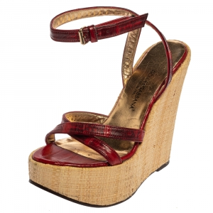 Dolce & Gabbana Red/Maroon Leather Raffia Wedge Ankle Wrap Sandals Size 35.5 - used