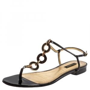 Dolce & Gabbana Black Patent Leather Chain T Strap Flat Sandals Size 38