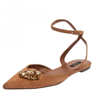 Dolce & Gabbana Brown Suede Leather Bellucci Crystal Embellished Ankle Strap Flat Sandals Size 41