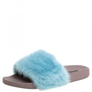 Dolce & Gabbana Blue Mink Fur Pool Slide Flats Size 41