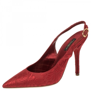 Dolce & Gabbana Red Brocade Fabric Slingback Sandals 37.5