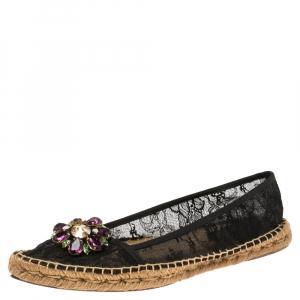 Dolce & Gabbana Black Lace Crystal Embellished Pointed Toe Espadrilles Size 42