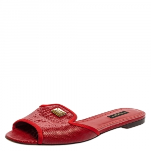 Dolce & Gabbana Red Lizard Embossed Leather Flat Slides Size 38 - used