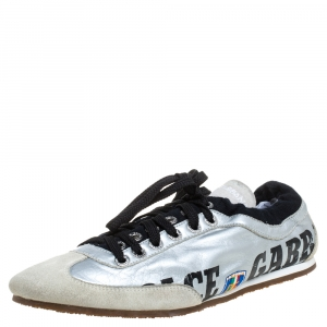 Dolce & Gabbana Silver/Beige Leather And Suede Sneakers Size 43.5