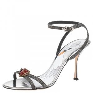Dolce & Gabbana Grey Straw Heart Sandals Size 39