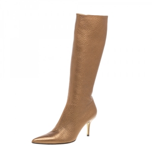 Dolce and Gabbana Metallic Beige Textured Leather Pointed Knee Boots Size 40.5 - used