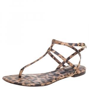 Dolce & Gabbana  Leopard Print Leather T Strap Thong Flats Size 39