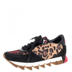 Dolce and Gabbana Multicolor Leopard Print PVC/Suede and Nylon Sawtooth Platform Sneakers Size 39
