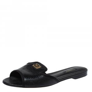 Dolce & Gabbana Black Lizard Embossed Leather Sofia Slides Size 37