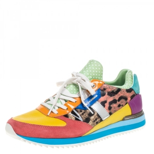 Dolce & Gabbana Multicolor Leather, Suede and Patent Leather Low Top Sneakers Size 40