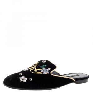 Dolce & Gabbana Black Velvet Jackie Mules Size 40.5