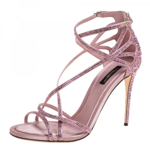 Dolce & Gabbana Pink Satin Crystal Embellished Strappy Open Toe Sandals Size 38.5 - used