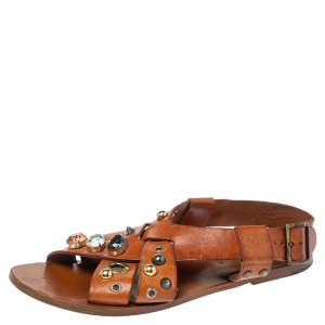 Dolce & Gabbana Brown Leather Jewel and Studs Embellished Flat Sandals Size 37