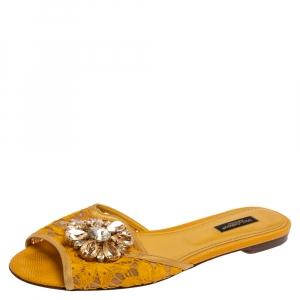 Dolce & Gabbana Mustard Lace Crystal Embellished Flat Slides Size 38