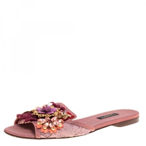 Dolce & Gabbana Blush Pink Lace And Leather Trim Sofia Crystal Embellished Slide Flats Size 36