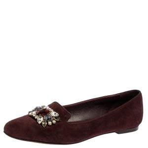 Dolce & Gabbana Burgundy Suede Crystal Embellished Ballet Flats Size 37.5