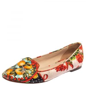 Dolce & Gabbana Multicolor Floral Print Brocade Fabric Smoking Slippers Size 38.5 - used