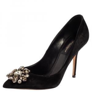 Dolce & Gabbana Black Suede Leather Crystal Embellished Pointed Toe Pumps Size 36