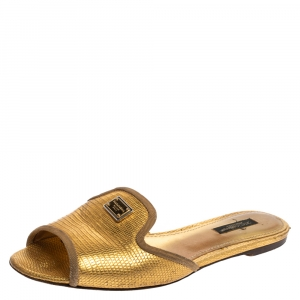 Dolce & Gabbana Metallic Gold Lizard Embossed Leather Sofia Flat Slides Size 37 - used