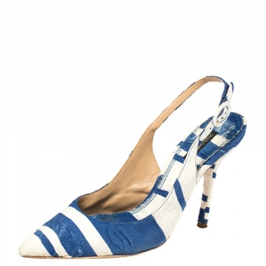 Dolce & Gabbana Blue and White Stripe Brocade Fabric Pointed Toe Slingback Sandals Size 38 - used