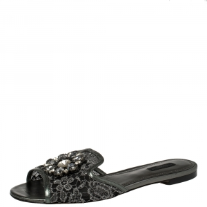 Dolce & Gabbana Metallic Grey Lace And Leather Trim Crystal Embellished Flats Size 41