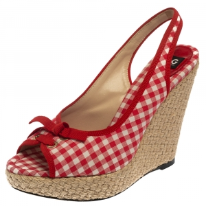 Dolce & Gabbana Red/White Check Fabric Wedge Slingback Sandals Size 40 - used