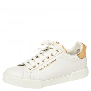 Dolce & Gabbana White/Gold Leather Portofino Pearl Embellished Low Top Sneakers Size 39.5