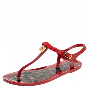 Dolce and Gabbana Red Patent Leather Jelly Bow Thong Flat Sandals Size 38 - used