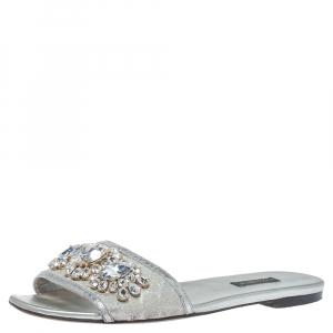Dolce & Gabbana Silver Brocade Fabric Crystal Embellished Flat Slides Size 38 - used