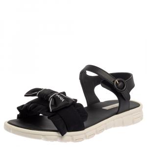 Dolce & Gabbana Black Leather and Fabric Logo Femmina Flat Sandals Size 37