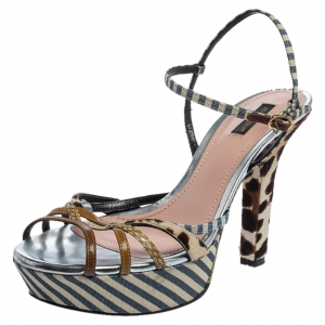 Dolce & Gabbana Multicolor Python and Patent Leather Strappy Platform Sandals Size 40 - used