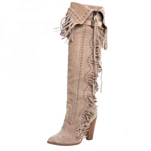Dolce & Gabbana Beige Suede Fringe Knee High Boots Size 37