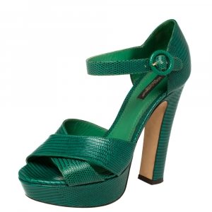 Dolce & Gabbana Green Lizard Embossed Leather Cross Strap Platform Sandals Size 38