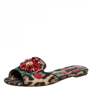 Dolce & Gabbana Brown Leopard And Floral Print Canvas Crystal Embellished Slip On Mules Sandals Size 38