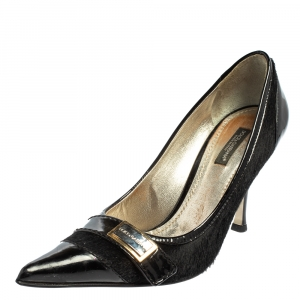 Dolce & Gabbana Black Patent Leather And Fur Pointed Toe Pumps Size 36.5