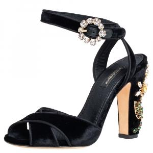 Dolce & Gabbana Black Velvet Crystal Embellishment Heel Ankle Strap Sandals Size 36