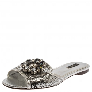 Dolce & Gabbana Silver Sequins Patent Leather Crystal Embellished Slides Sandals Size 38