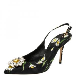 Dolce & Gabbana Multicolor Brocade Floral Fabric Crystal Embellished Slingback Sandals Size 39.5 - used