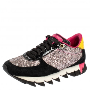 Dolce & Gabbana Multicolor Suede, Coarse Glitter And Patent Low Top Sneakers Size 35