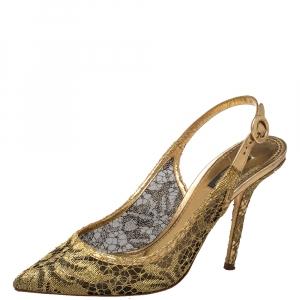 Dolce & Gabbana Gold Lace Slingback Sandals Size 39