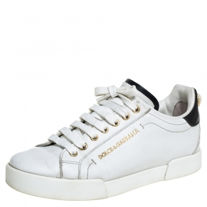 Dolce & Gabbana White/Black Leather Portofino Pearl Embellished Low Top Sneakers Size 37
