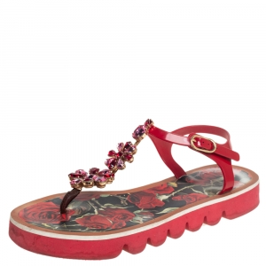 Dolce & Gabbana Red Jelly Crystal Embellished Thong Flat Sandals Size 40