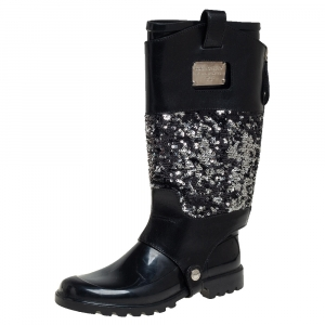Dolce & Gabbana Black Rubber with Sequin Embellished Leather Wellington Rain Boots Size 37