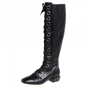 Dolce & Gabbana Black Leather Jackie Lace Up Knee Length Boots Size 41