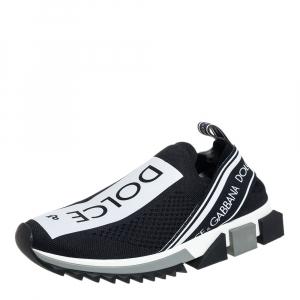 Dolce & Gabbana Black/White Knit Fabric Sorrento Slip On Sneakers Size 39