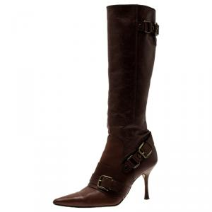 Dolce & Gabbana Brown Leather Buckle Detail Tall Pointed Boots Size 37 - used