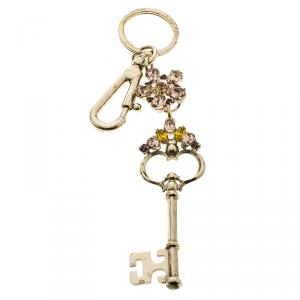 Dolce and Gabbana Crystal Studded Gold Tone Keyring